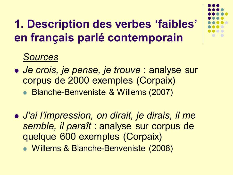 1. Description des verbes 'faibles' en français parlé contemporain