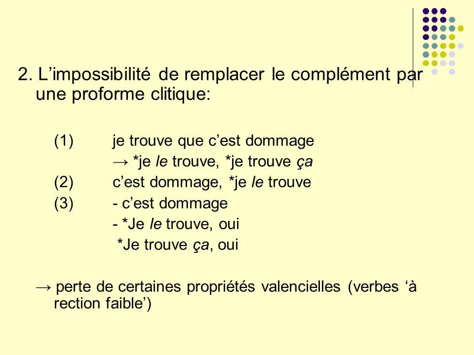 2. L'impossibilité de remplacer le complément par une proforme clitique: