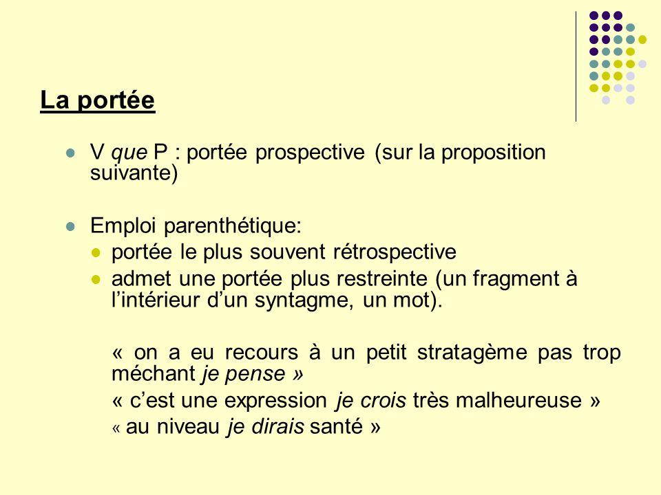 La portée V que P : portée prospective (sur la proposition suivante)