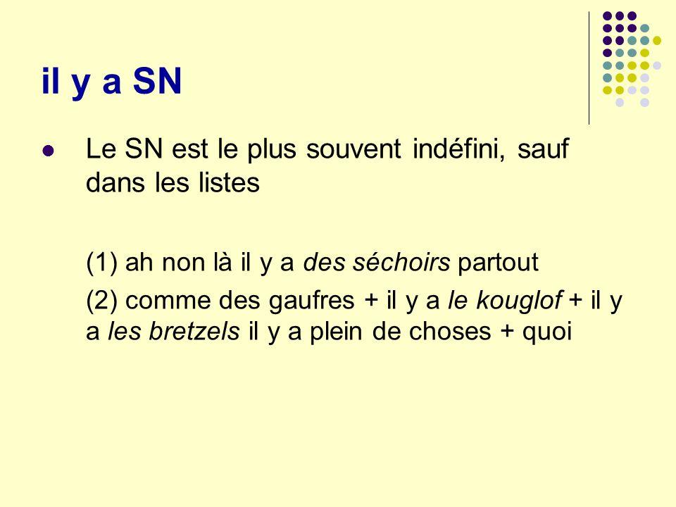 il y a SN Le SN est le plus souvent indéfini, sauf dans les listes