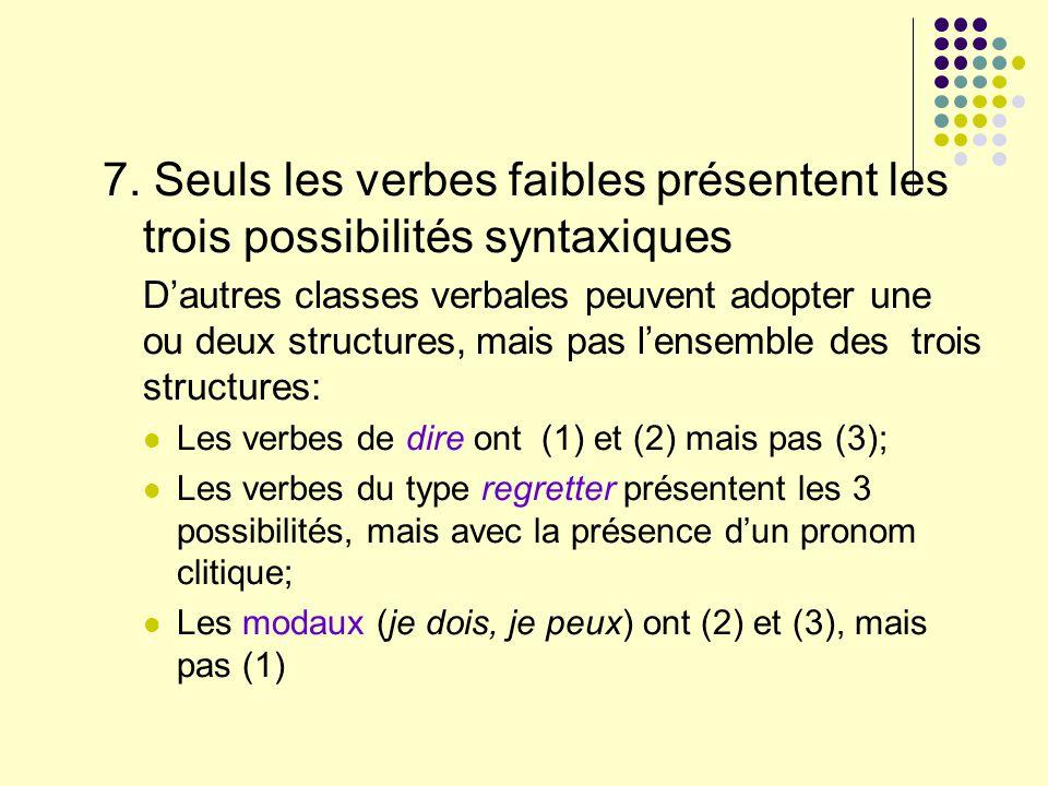 7. Seuls les verbes faibles présentent les trois possibilités syntaxiques
