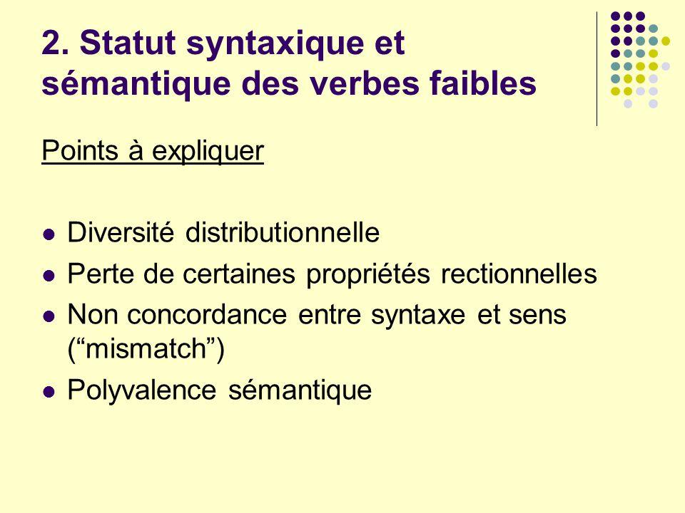 2. Statut syntaxique et sémantique des verbes faibles