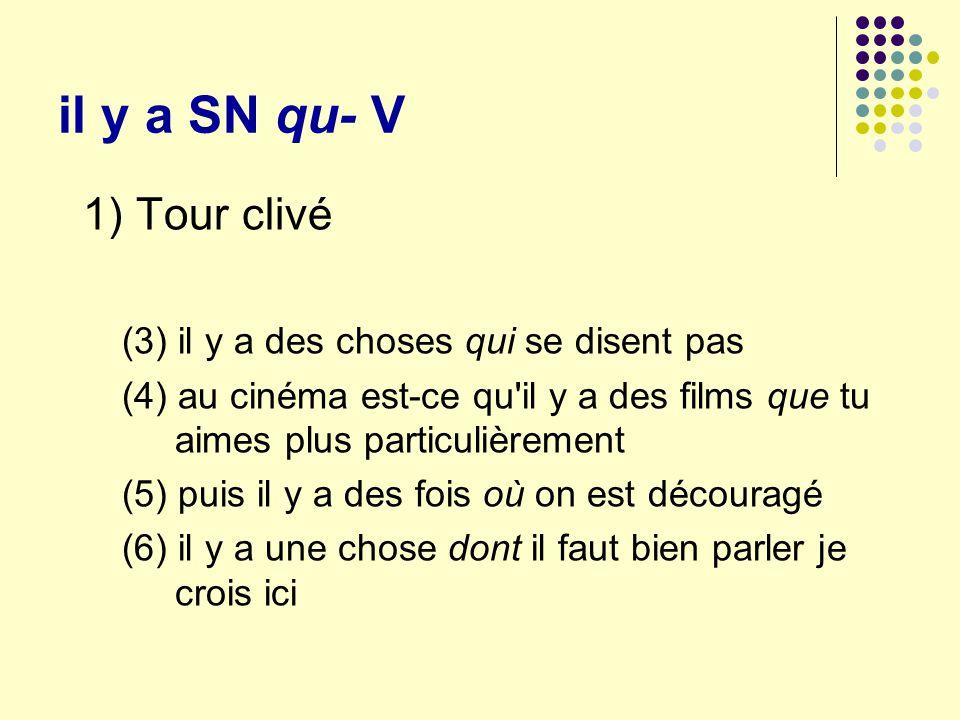 il y a SN qu- V 1) Tour clivé (3) il y a des choses qui se disent pas