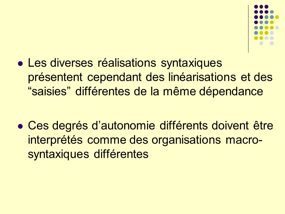 Les diverses réalisations syntaxiques présentent cependant des linéarisations et des saisies différentes de la même dépendance
