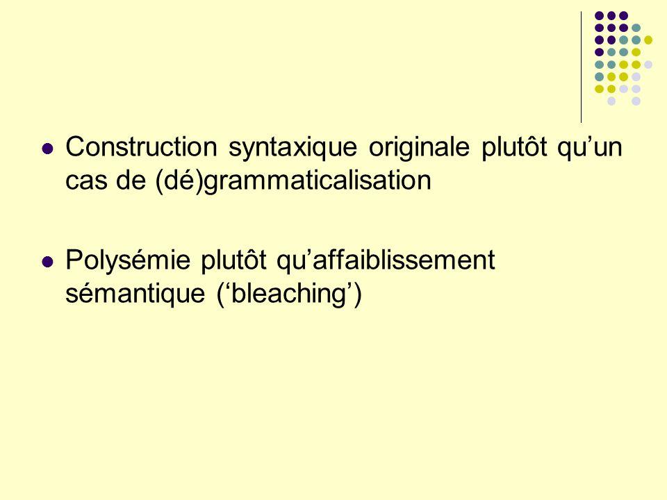 Construction syntaxique originale plutôt qu'un cas de (dé)grammaticalisation