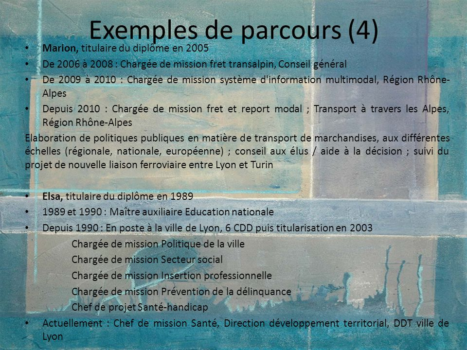 Exemples de parcours (4)