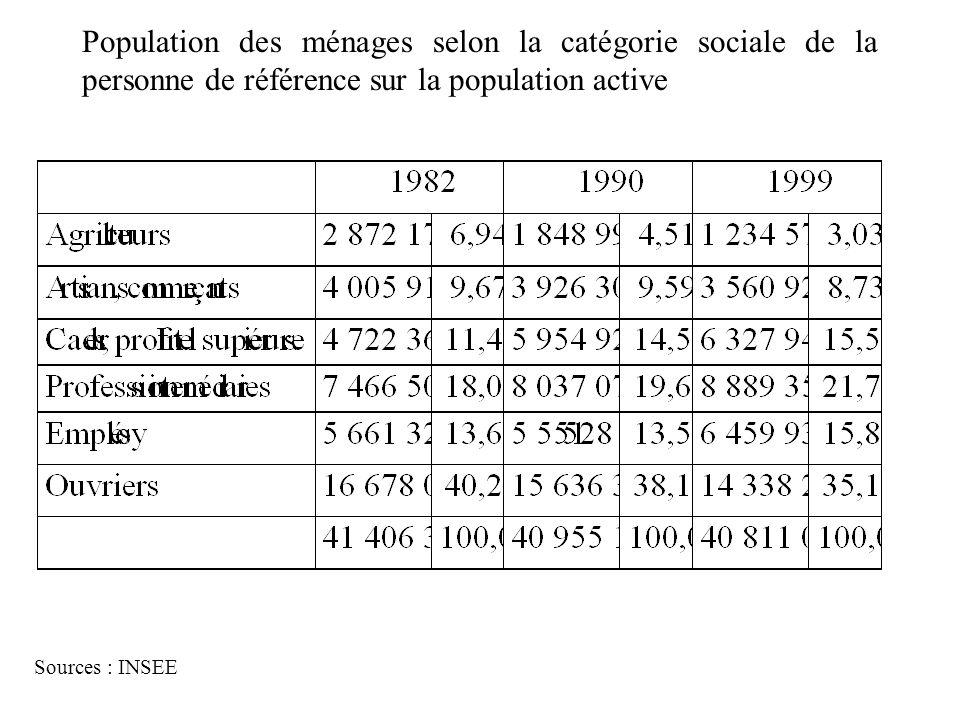 Morphologie sociale Population des ménages selon la catégorie sociale de la personne de référence sur la population active.