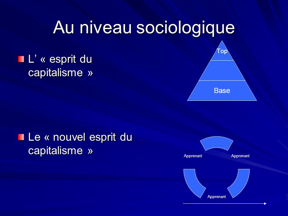 Au niveau sociologique