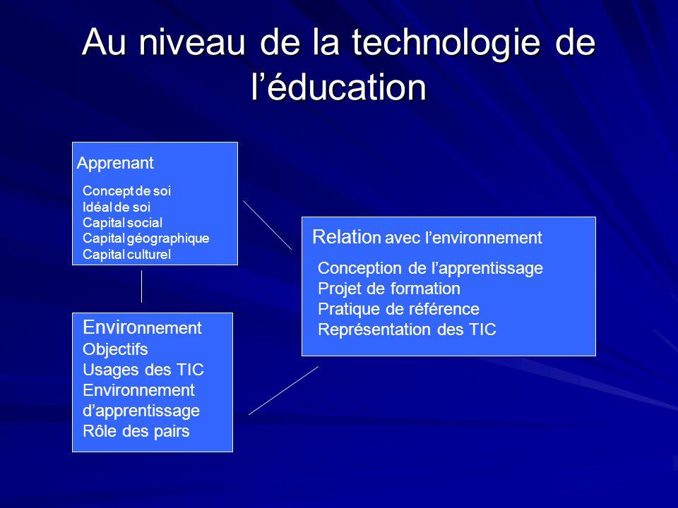 Au niveau de la technologie de l'éducation