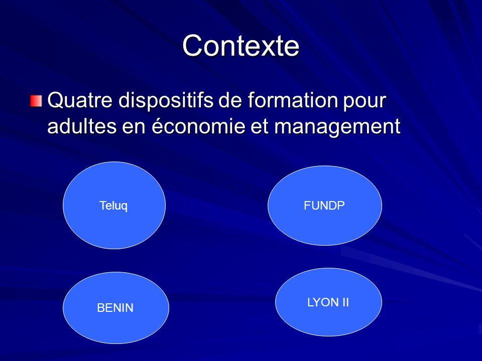 Contexte Quatre dispositifs de formation pour adultes en économie et management. Teluq. FUNDP. LYON II.