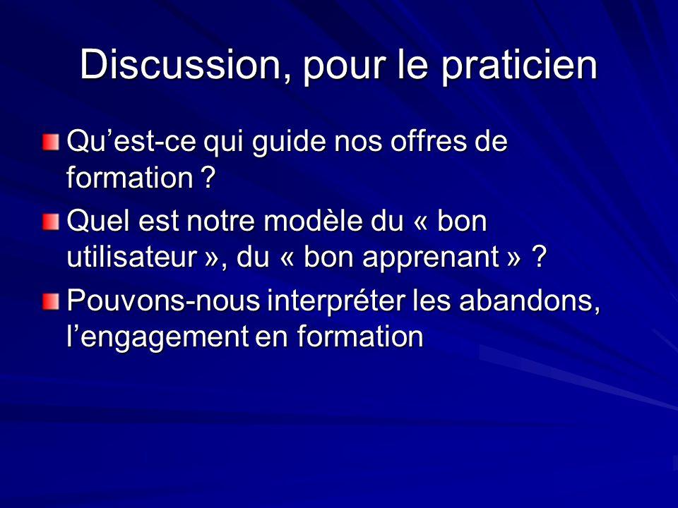 Discussion, pour le praticien
