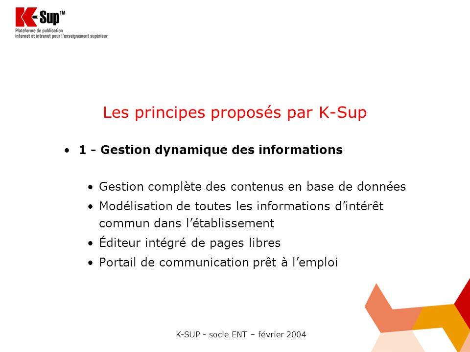 Les principes proposés par K-Sup