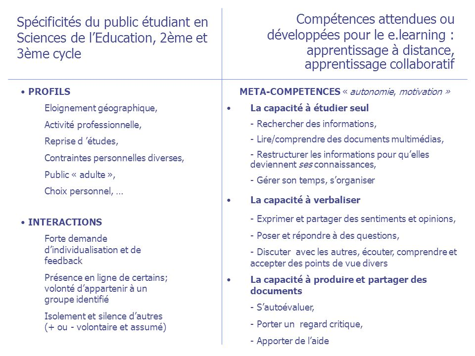 META-COMPETENCES « autonomie, motivation »