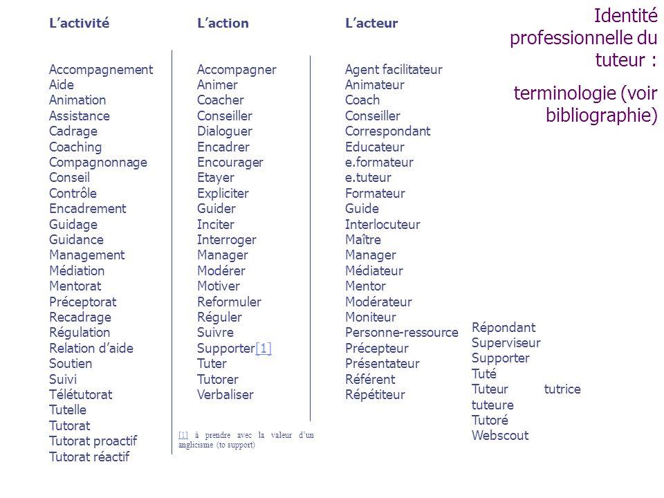 Identité professionnelle du tuteur :