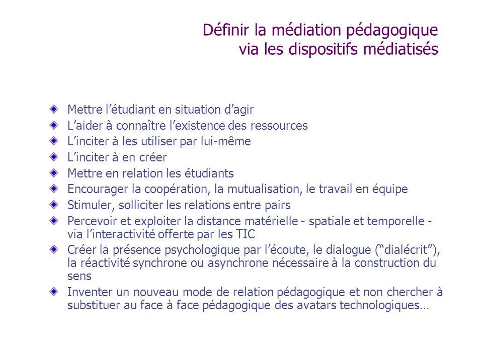 Définir la médiation pédagogique via les dispositifs médiatisés