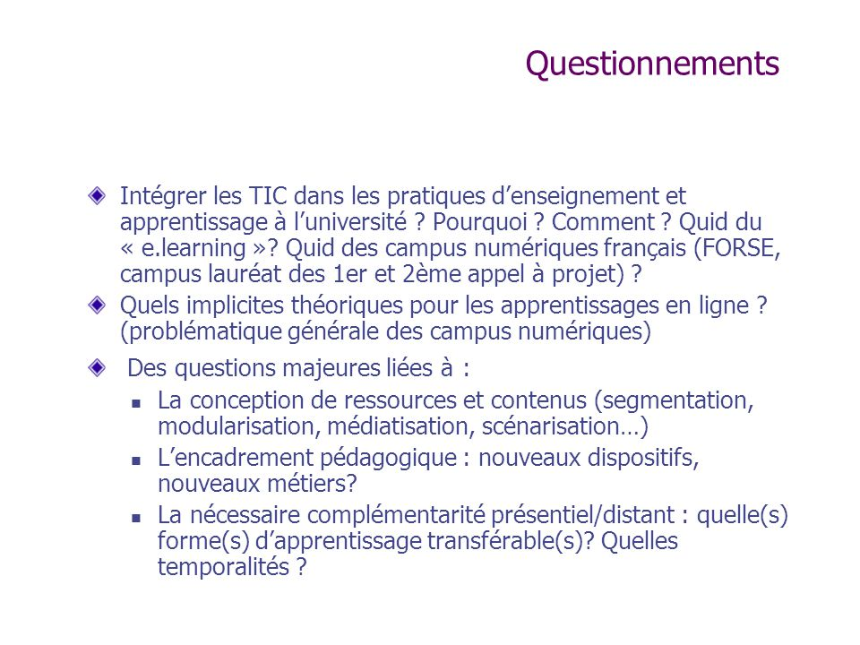 Questionnements