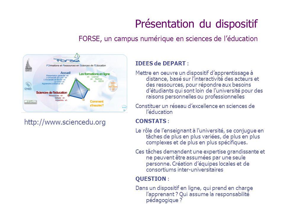 Présentation du dispositif FORSE, un campus numérique en sciences de l'éducation