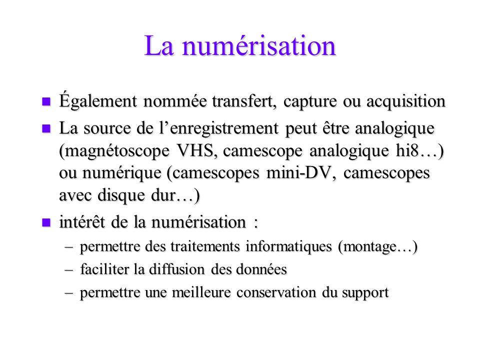 La numérisation Également nommée transfert, capture ou acquisition