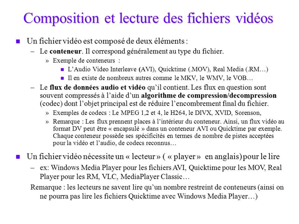 Composition et lecture des fichiers vidéos