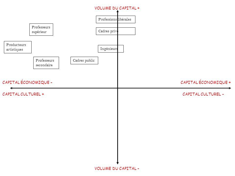 Morphologie sociale VOLUME DU CAPITAL + Professions libérales. Professeurs supérieur. Cadres privé.