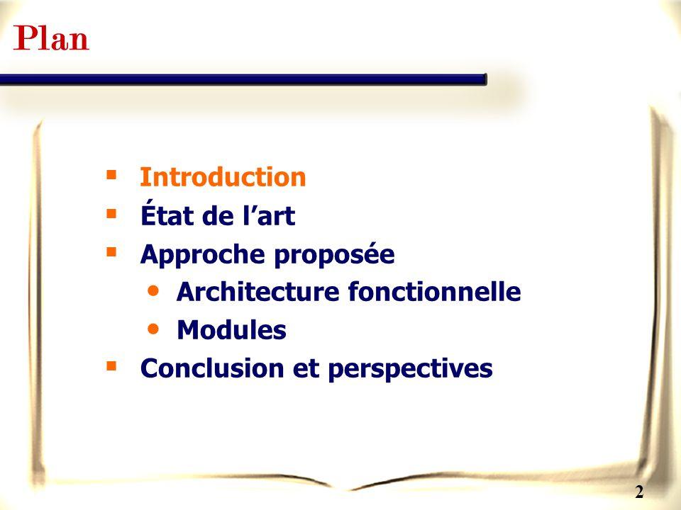 Plan Introduction État de l'art Approche proposée