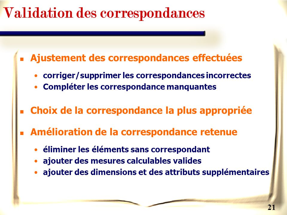 Validation des correspondances