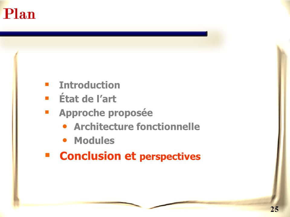 Plan Conclusion et perspectives Introduction État de l'art