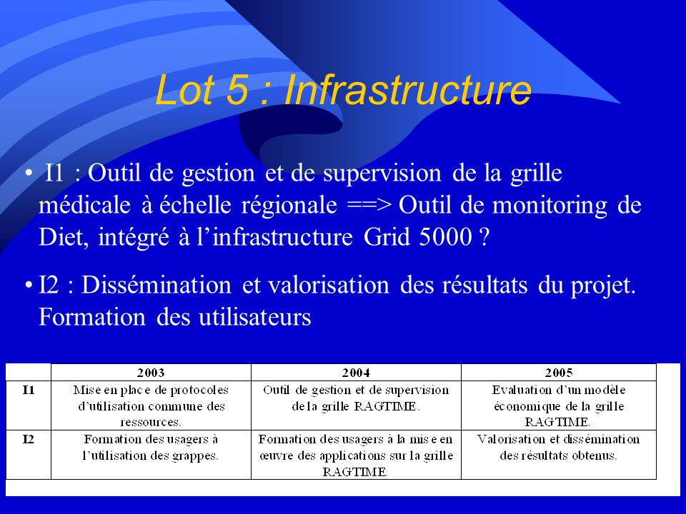 Lot 5 : Infrastructure