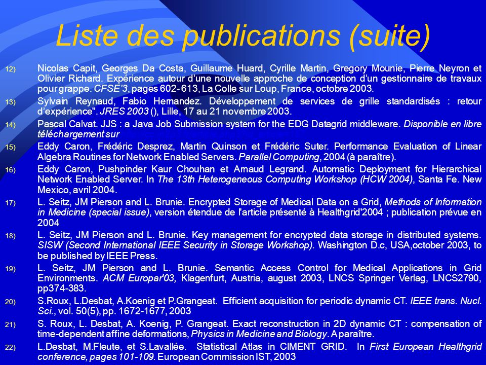 Liste des publications (suite)