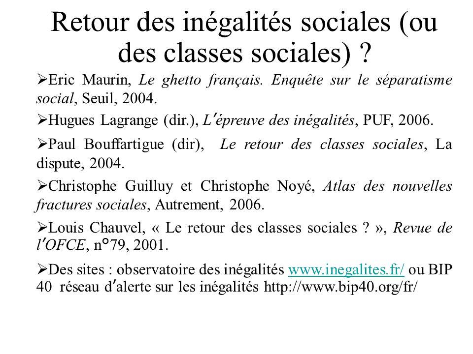 Retour des inégalités sociales (ou des classes sociales)