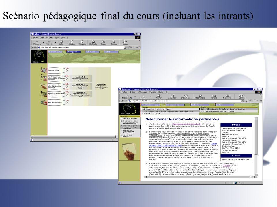 Scénario pédagogique final du cours (incluant les intrants)