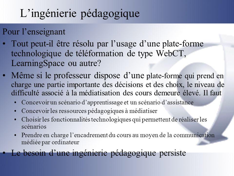 L'ingénierie pédagogique