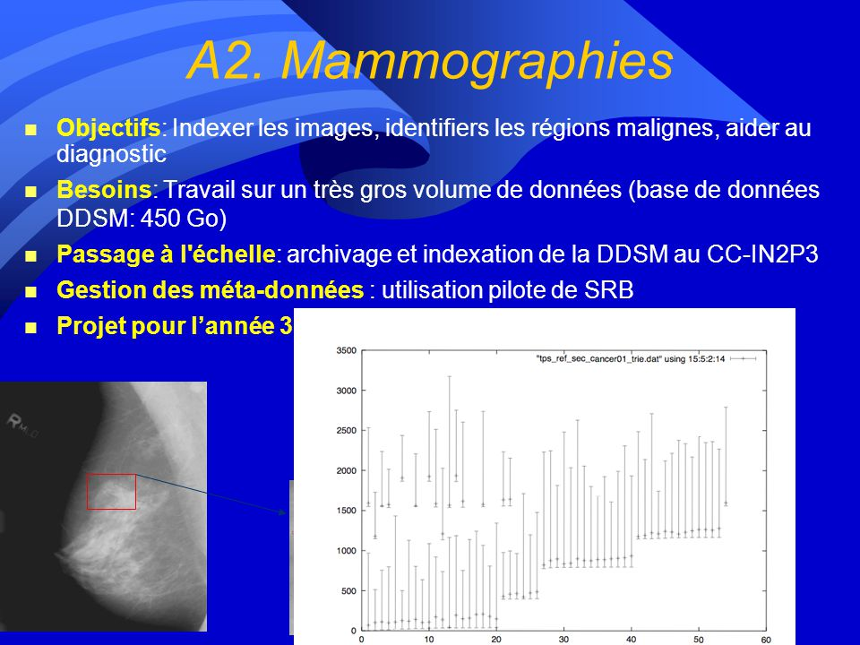 A2. Mammographies Objectifs: Indexer les images, identifiers les régions malignes, aider au diagnostic.