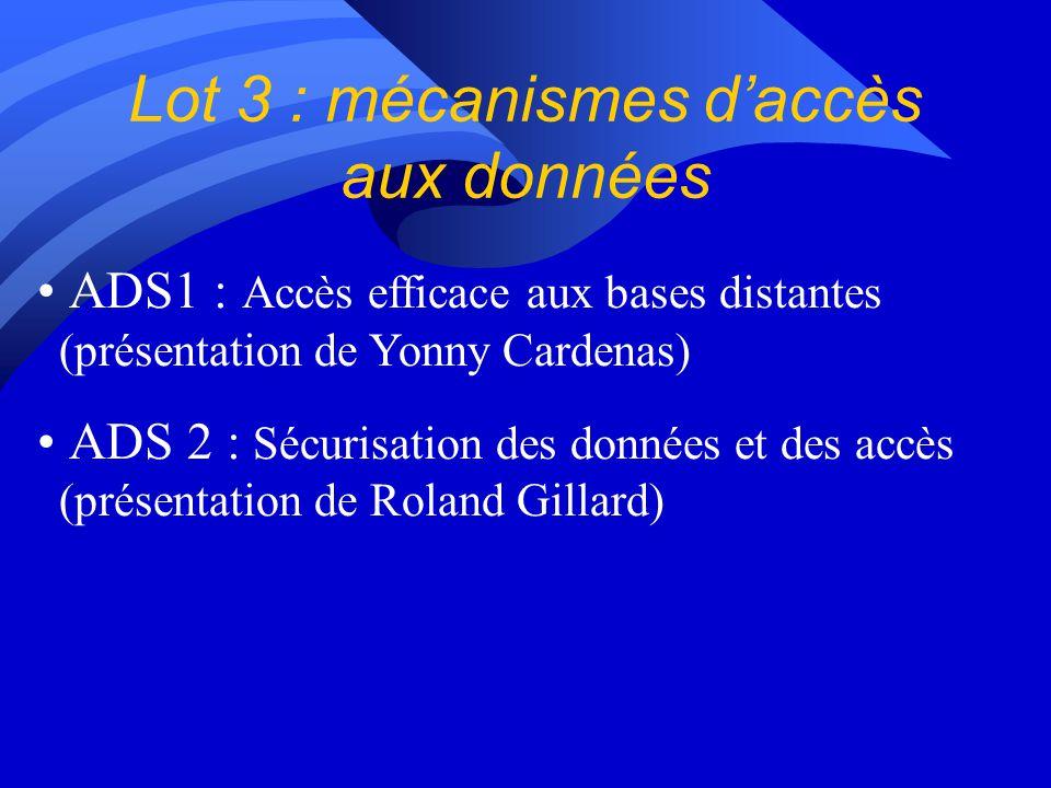 Lot 3 : mécanismes d'accès aux données