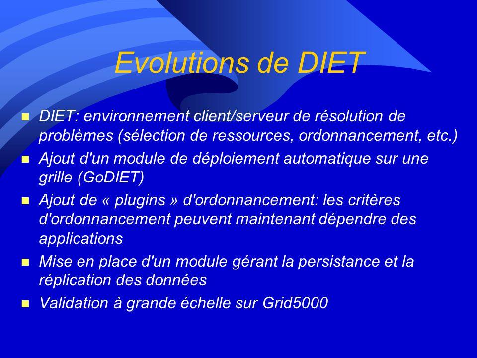 Evolutions de DIET DIET: environnement client/serveur de résolution de problèmes (sélection de ressources, ordonnancement, etc.)