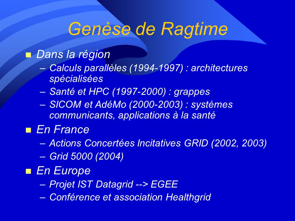 Genèse de Ragtime Dans la région En France En Europe