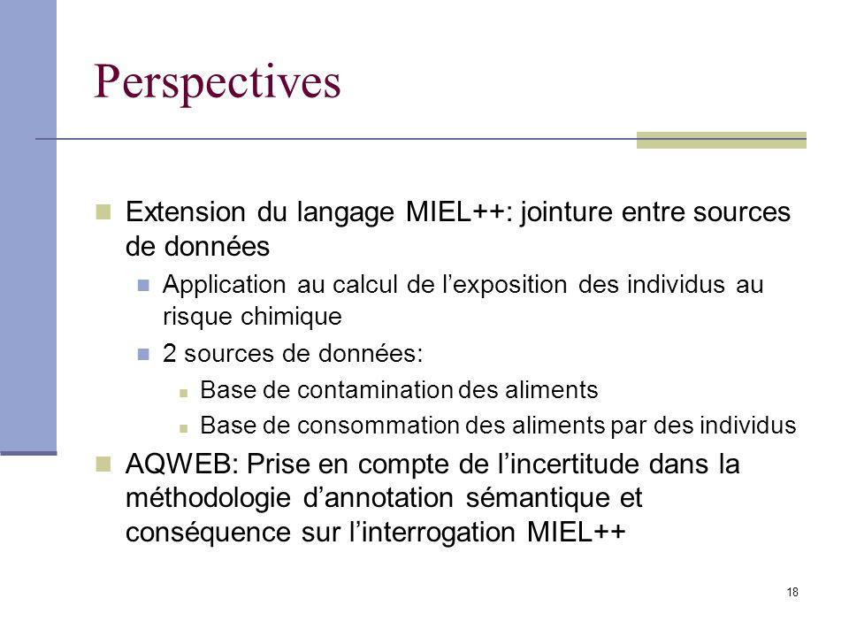 Perspectives Extension du langage MIEL++: jointure entre sources de données. Application au calcul de l'exposition des individus au risque chimique.