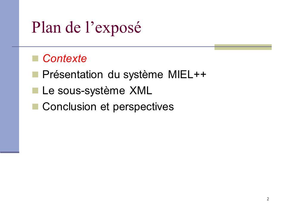 Plan de l'exposé Contexte Présentation du système MIEL++