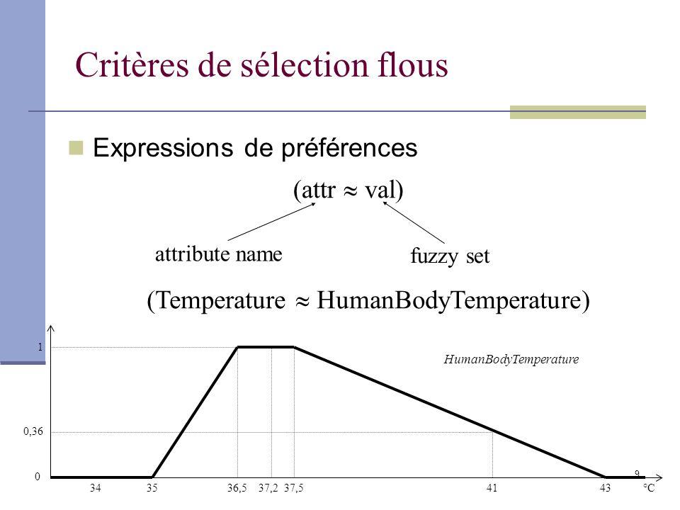 Critères de sélection flous