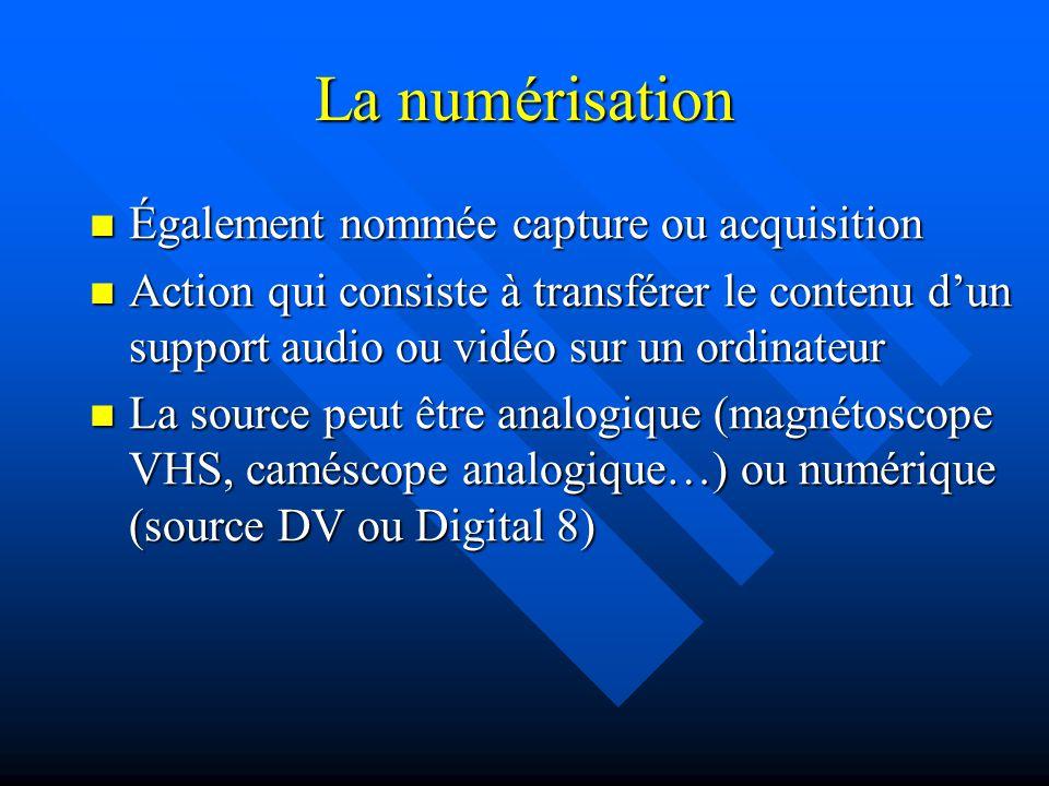 La numérisation Également nommée capture ou acquisition