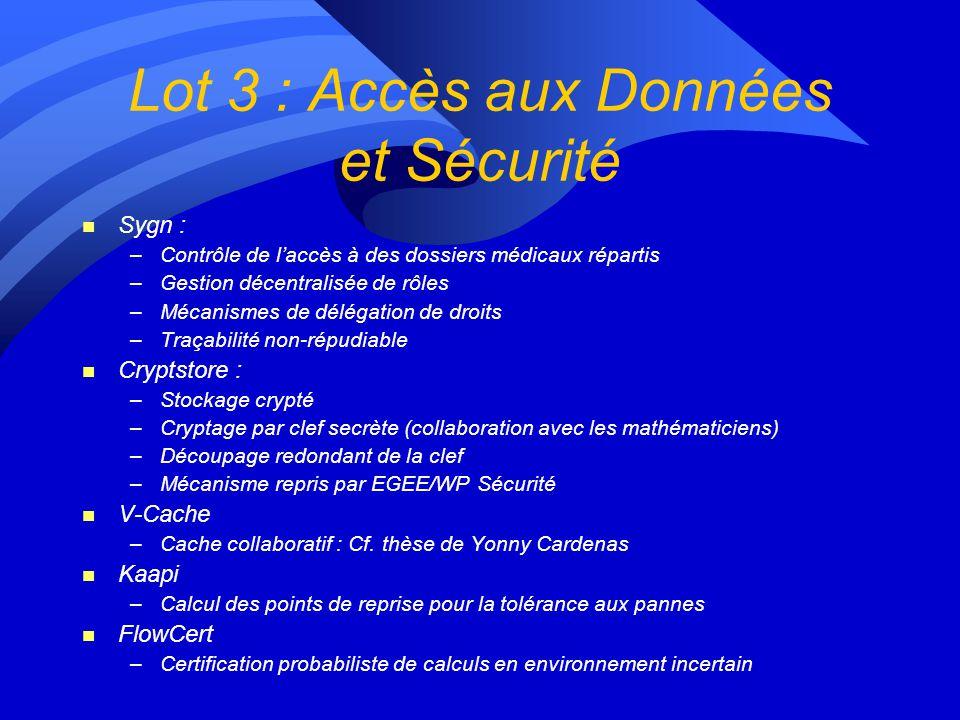 Lot 3 : Accès aux Données et Sécurité