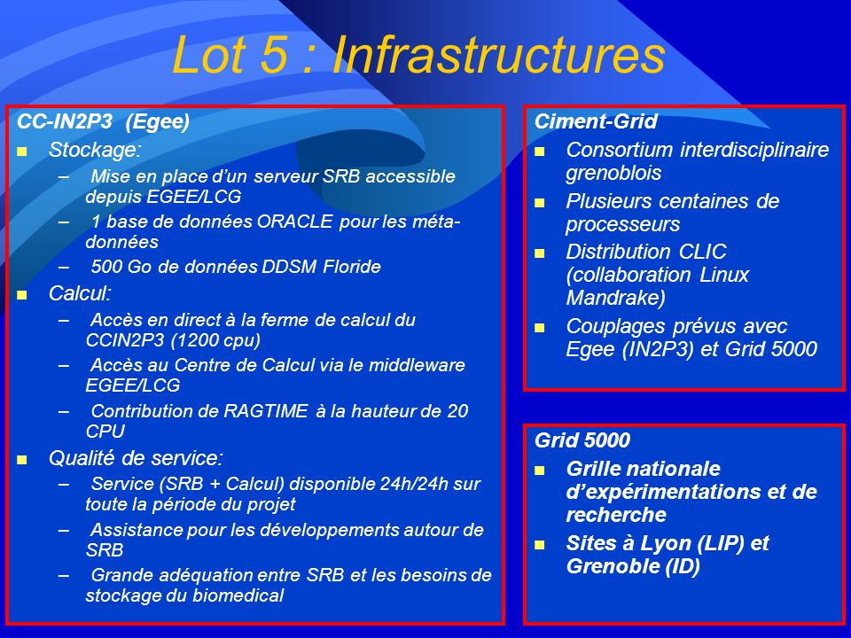 Lot 5 : Infrastructures CC-IN2P3 (Egee) Stockage: Calcul: