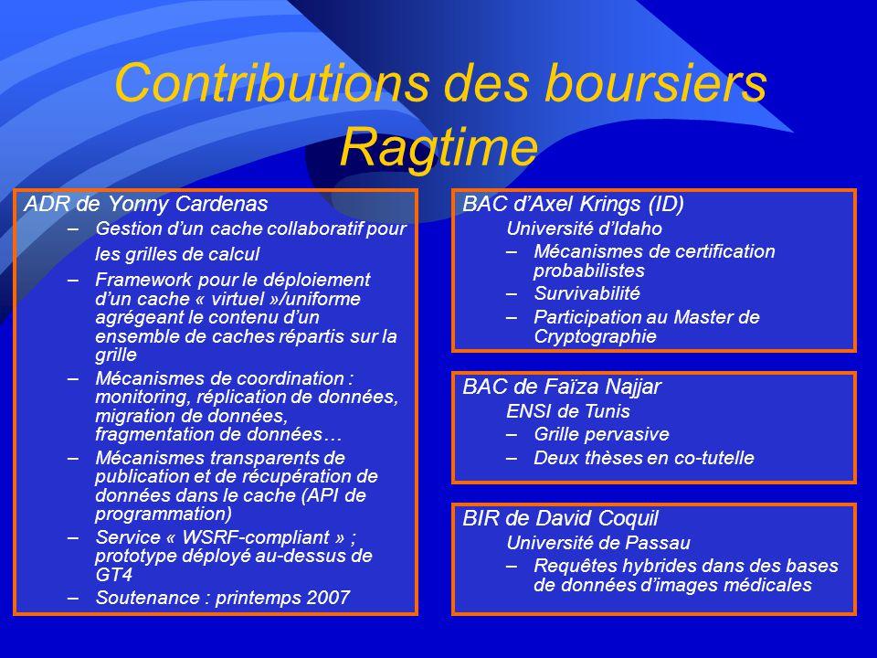 Contributions des boursiers Ragtime