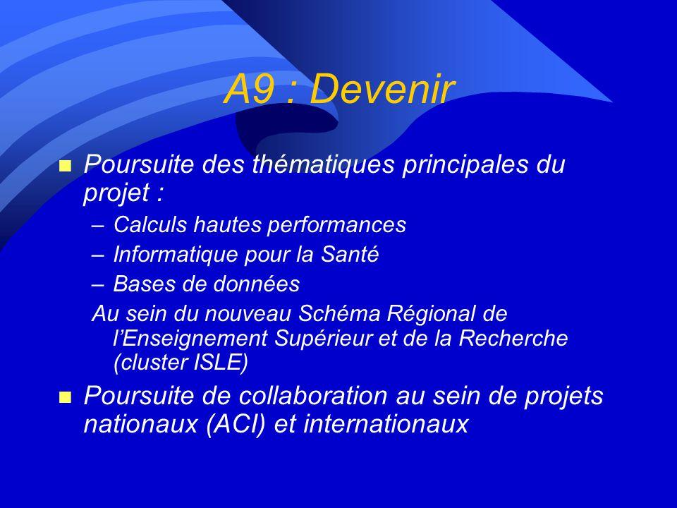 A9 : Devenir Poursuite des thématiques principales du projet :