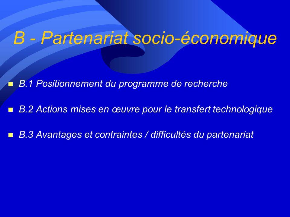 B - Partenariat socio-économique
