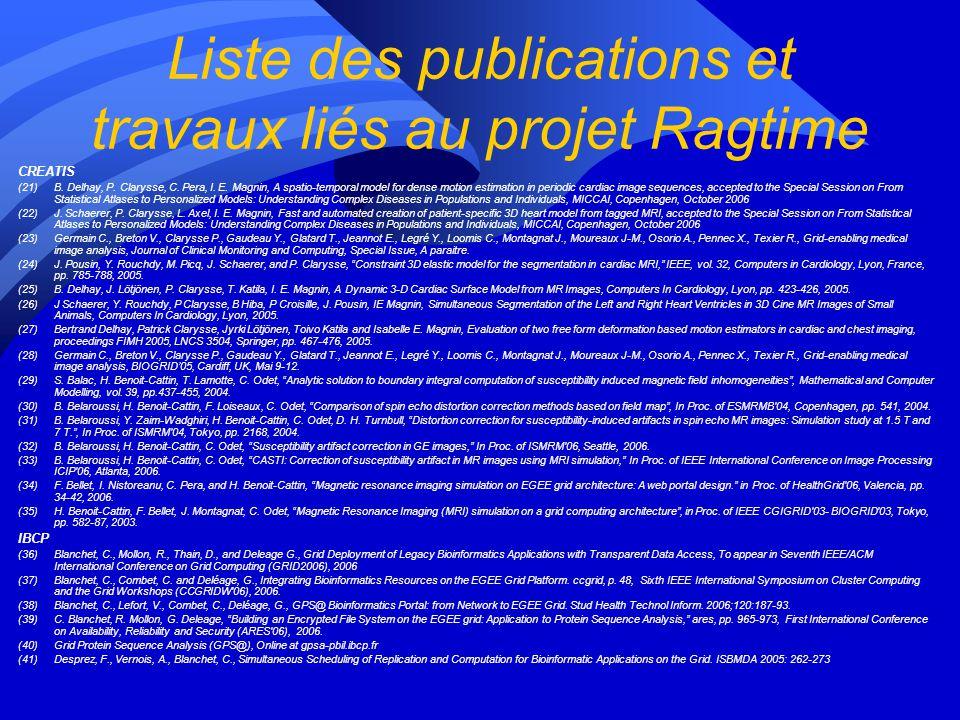 Liste des publications et travaux liés au projet Ragtime