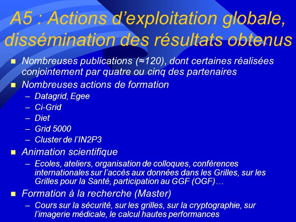 A5 : Actions d'exploitation globale, dissémination des résultats obtenus