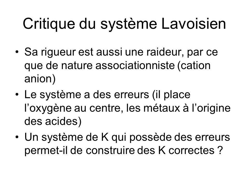 Critique du système Lavoisien
