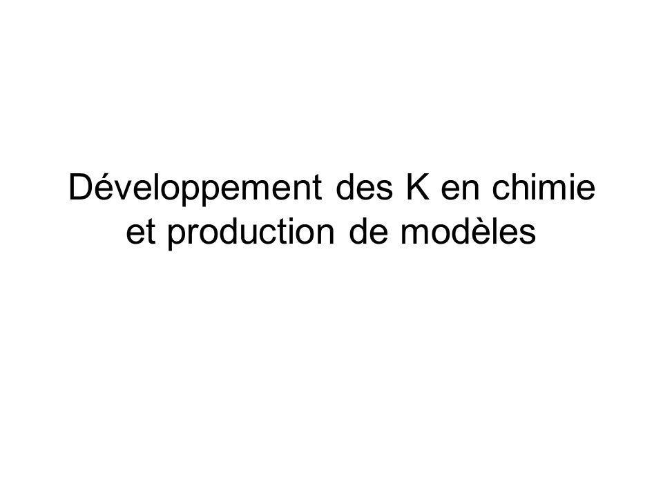 Développement des K en chimie et production de modèles