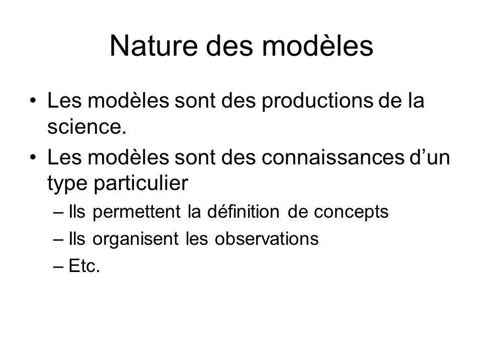 Nature des modèles Les modèles sont des productions de la science.